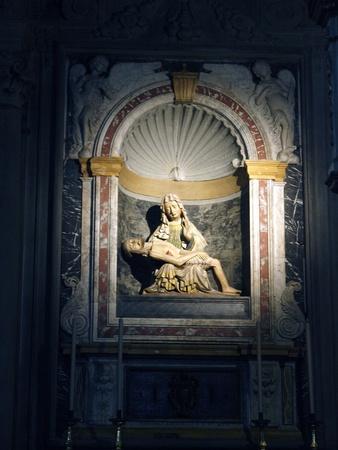 Cortona Duomo - the 15 C Cathedral of Santa Maria Assunta . Pieta made of terracotta  Stock Photo - 12734695