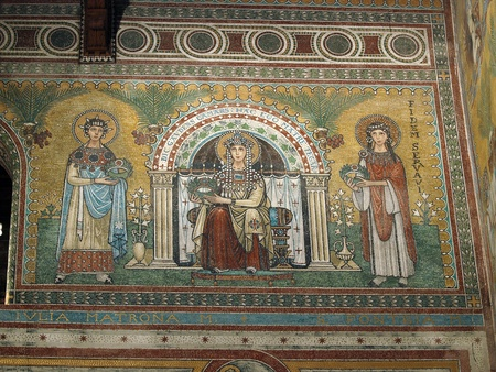Chiusi - The Romanesque Cathedral (Duomo) of San Secondiano, built around 560 AD over a pre-existing basilica, and renovated in the 13th century. Mosaic with scenes from the life of Virgin Mary Stock Photo - 12734609