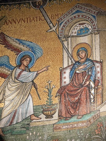 Chiusi - The Romanesque Cathedral (Duomo) of San Secondiano, built around 560 AD over a pre-existing basilica, and renovated in the 13th century. Mosaic with scenes from the life of Virgin Mary Stock Photo - 12734610