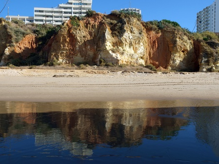 vilamoura: Colorful rock cliffs of the Algarve in Portugal