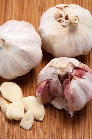 Garlic on the wooden table  photo