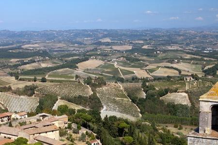 bowery: Hills around San Gimignano. Tuscany Stock Photo
