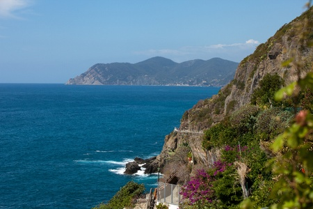 Cliffs in Riomaggiore.  Cinque Terre, Liguria, Italy photo