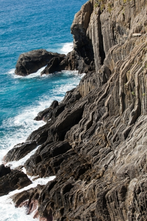 Cliffs in Riomaggiore.  Cinque Terre, Liguria, Italy photo