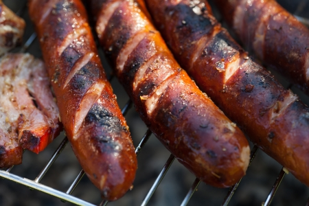 barbecue with delicious grilled meat on grill Stock Photo - 13654400
