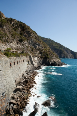Cinque Terre - road of love.  Liguria, Italy.One from most beautiful in Italy of for pedestrians paths for lovers photo