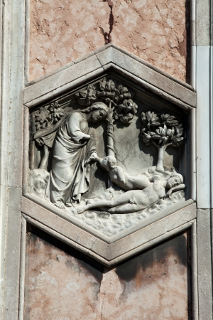Florence - The hexagonal Relief on the Giottos Campanile photo