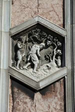 campanile: Florence - The hexagonal Relief on the Giottos Campanile Stock Photo