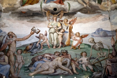 giorgio: Florence - Duomo .The Last Judgement. Inside the cupola: 3600 m2 of frescoes, created by Giorgio Vasari and Federico Zuccari, who worked there from 1572 to 1579. Editorial