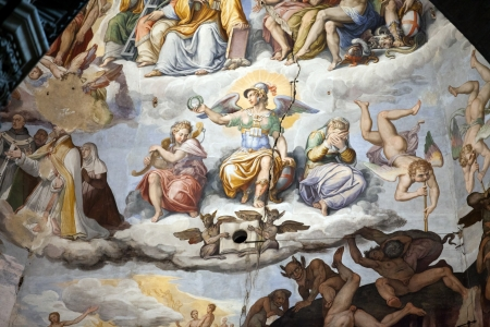 Florence - Duomo .The Last Judgement. Inside the cupola: 3600 m2 of frescoes, created by Giorgio Vasari and Federico Zuccari, who worked there from 1572 to 1579. 에디토리얼