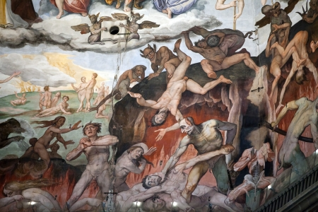 Florence - Duomo .The Last Judgement. Inside the cupola: 3600 m2 of frescoes, created by Giorgio Vasari and Federico Zuccari, who worked there from 1572 to 1579. 新聞圖片