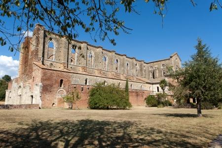The side wall of the Abbey of San Galgano. Tuscany photo