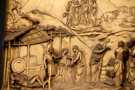 drunkenness: Florence - Baptistery , Panel of the Door of Paradise - The drunkenness of Noah Editorial