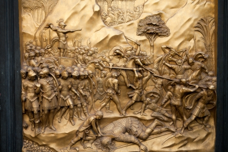 david and goliath: Florence - Baptistery , Panel of the Door of Paradise. David and Goliath