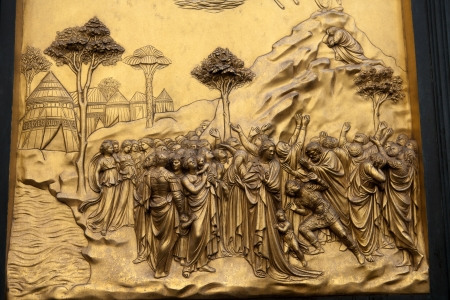 bible ten commandments: Florence - Baptistery , Panel of the Door of Paradise. Moses and the 10 commandments