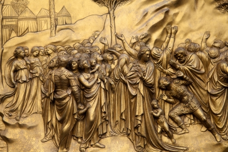 Florence - Baptistery , Panel of the Door of Paradise. Moses and the 10 commandments