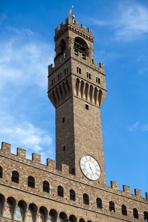 Front of Palazzo Vecchio and the clock tower on Piazza della Signoria, Florence, Tuscany photo