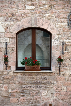 flowers hangs on the window of a home Stock Photo - 14438579