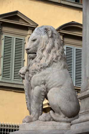 florentine: Florence - Lion Marzocco. the lion called marzocco created by donatello in the 15th century is a symbol of the florentine army in the middle age.