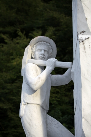 Marble sculpture of miner from Carrara photo