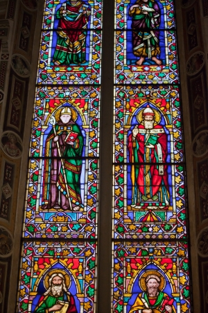 humanist: Florence -  Santa Croce  the Baroncelli Chapel   Stained glass Stock Photo