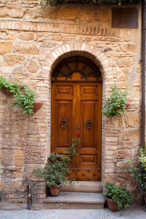 wooden residential doorway in Tuscany. Italy  photo
