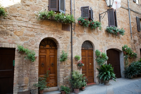 valdorcia: wooden residential doorway in Tuscany. Italy