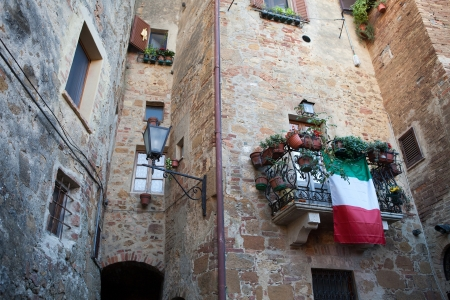utopian: The town of Pienza is a small pearl in the Tuscan countryside Stock Photo