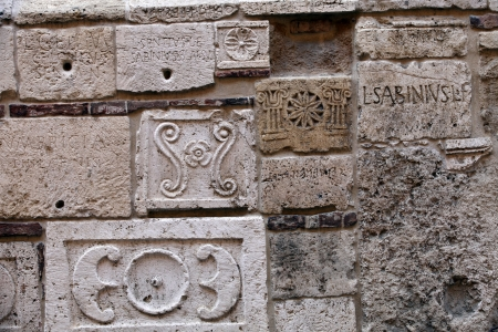 etruscan: Montepulciano -  Palazzo Bucelli -stones from the Etruscan and Roman ages Stock Photo