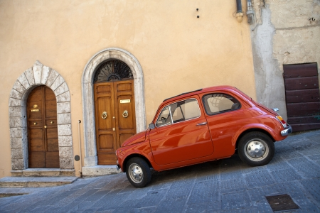 montepulciano:  car at the town of Montepulciano in Italy