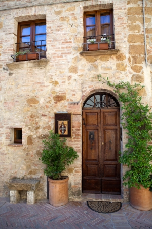 The town of Pienza is a small pearl in the Tuscan countryside Stock Photo
