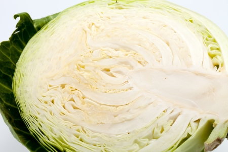 White Cabbage cross section on White Background