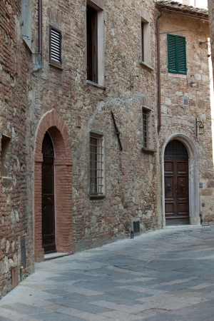 the narrow street  in the Tuscan town photo
