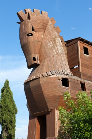 cavallo di troia: Cavallo di Troia trova a Troy, Turchia Editoriali