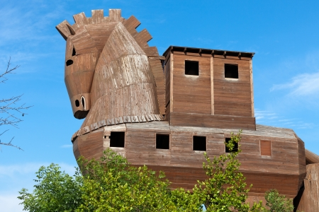 replica:  Trojan Horse located in Troy, Turkey