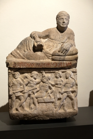 etruscan: Ancient etruscan art. Sarcophagus of Chiusi, Tuscany.