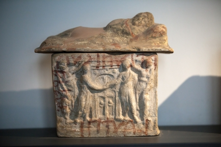 funerary: Ancient etruscan art. Painted terracotta cienrary  urns. Sarcophagus of Chiusi, Tuscany.