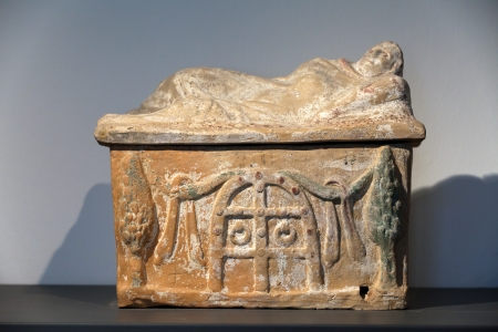 Ancient etruscan art. Painted terracotta cienrary  urns. Sarcophagus of Chiusi, Tuscany.  Stock Photo - 16558243
