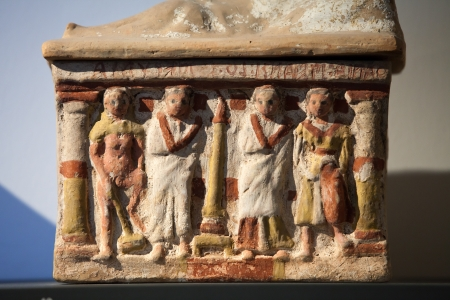 Ancient etruscan art. Painted terracotta cienrary  urns. Sarcophagus of Chiusi, Tuscany.  Stock Photo - 16558239