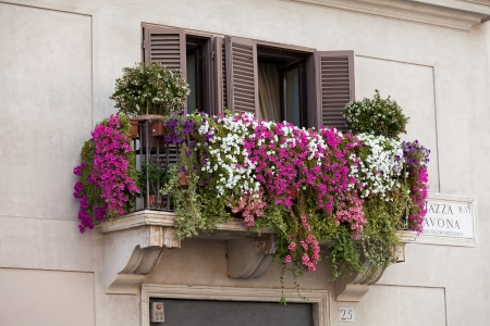 balcony: Rome - the balcony with flowers on Piazza Navona Stock Photo
