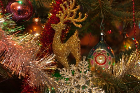 Christmas decoration on christmas tree photo