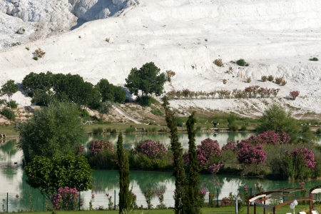 Travertine pools and terraces in Pamukkale Turkey Stock Photo - 17371910