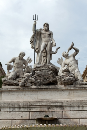 Rome - Fountain of Neptune in Piazza Popolo 版權商用圖片