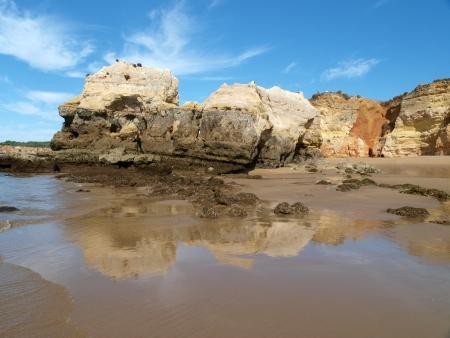 rocha: A section of the idyllic Praia de Rocha beach on the Algarve region.  Stock Photo