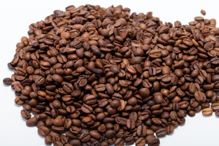 coffee beans close up isolated on white Stock Photo - 17810357