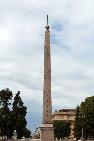 Rome -  Egyptian obelisk of Ramesses in Piazza del Popolo Stock Photo - 17938952