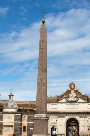 plaza of arms: Rome -  Egyptian obelisk of Ramesses in Piazza del Popolo
