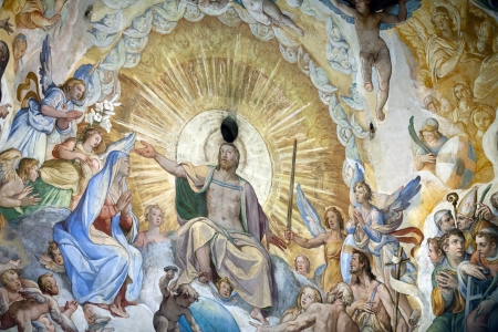 italian fresco: Florence - Duomo .The Last Judgement. Inside the cupola: 3600 m2 of frescoes, created by Giorgio Vasari and Federico Zuccari, who worked there from 1572 to 1579. Editorial