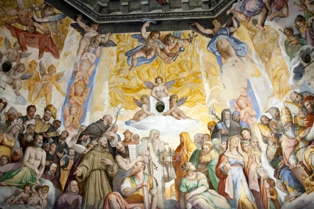 worked: Florence - Duomo  The Last Judgement  Inside the cupola  3600 m2 of frescoes, created by Giorgio Vasari and Federico Zuccari, who worked there from 1572 to 1579  Editorial