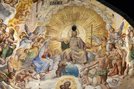 italian fresco: Florence - Duomo  The Last Judgement  Inside the cupola  3600 m2 of frescoes, created by Giorgio Vasari and Federico Zuccari, who worked there from 1572 to 1579  Editorial